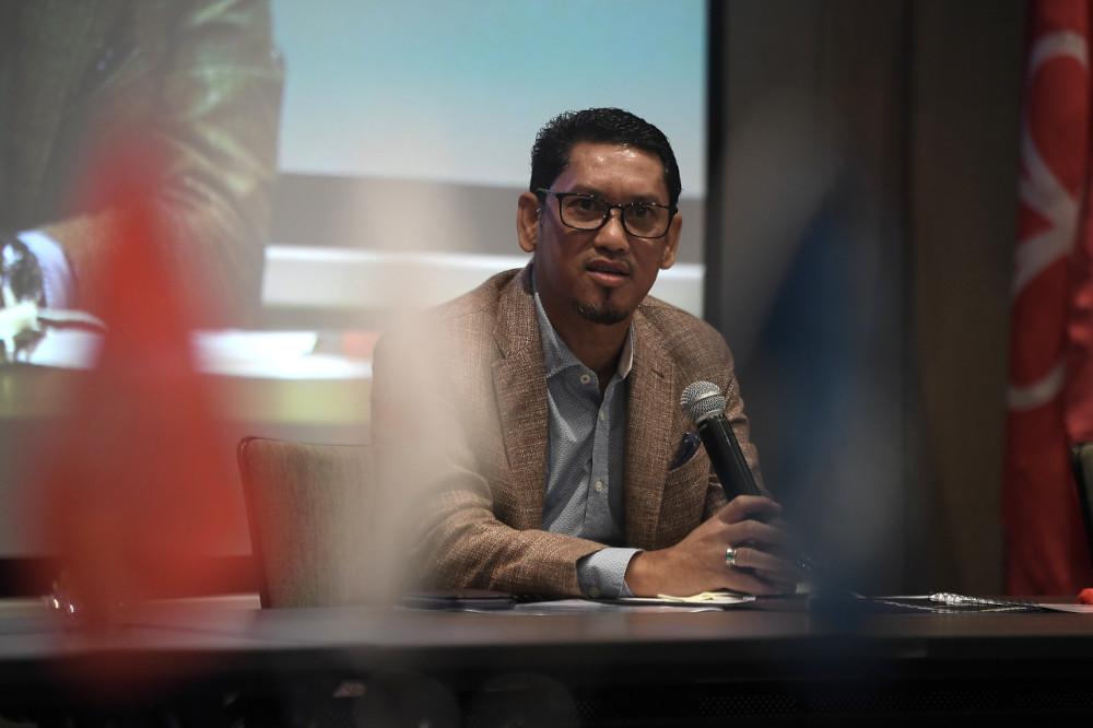 Bersatu deputy president Datuk Seri Ahmad Faizal Azumu speaks to reporters at the closing ceremony of the Srikandi Muda Leadership Empowerment programme in Kuala Lumpur, April 23, 2021. — Bernama pic