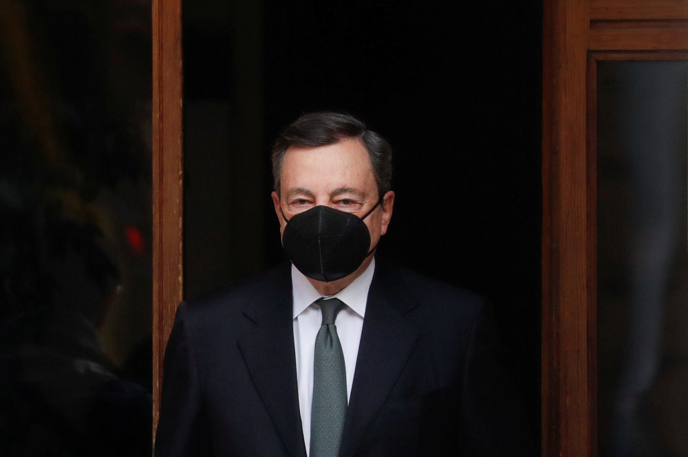 Italian Prime Minister Mario Draghi leaves his house, in Rome February 16, 2021. — Reuters pic