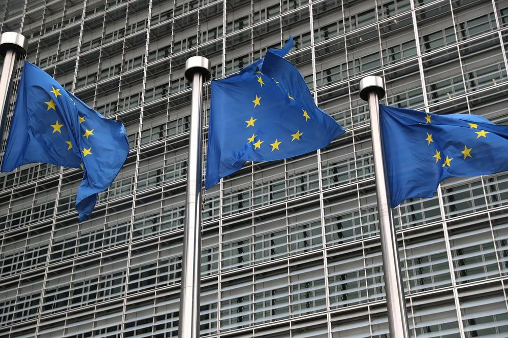 European Union flags fly outside the European Commission headquarters in Brussels, Belgium, October 4, 2019. — Reuters pic
