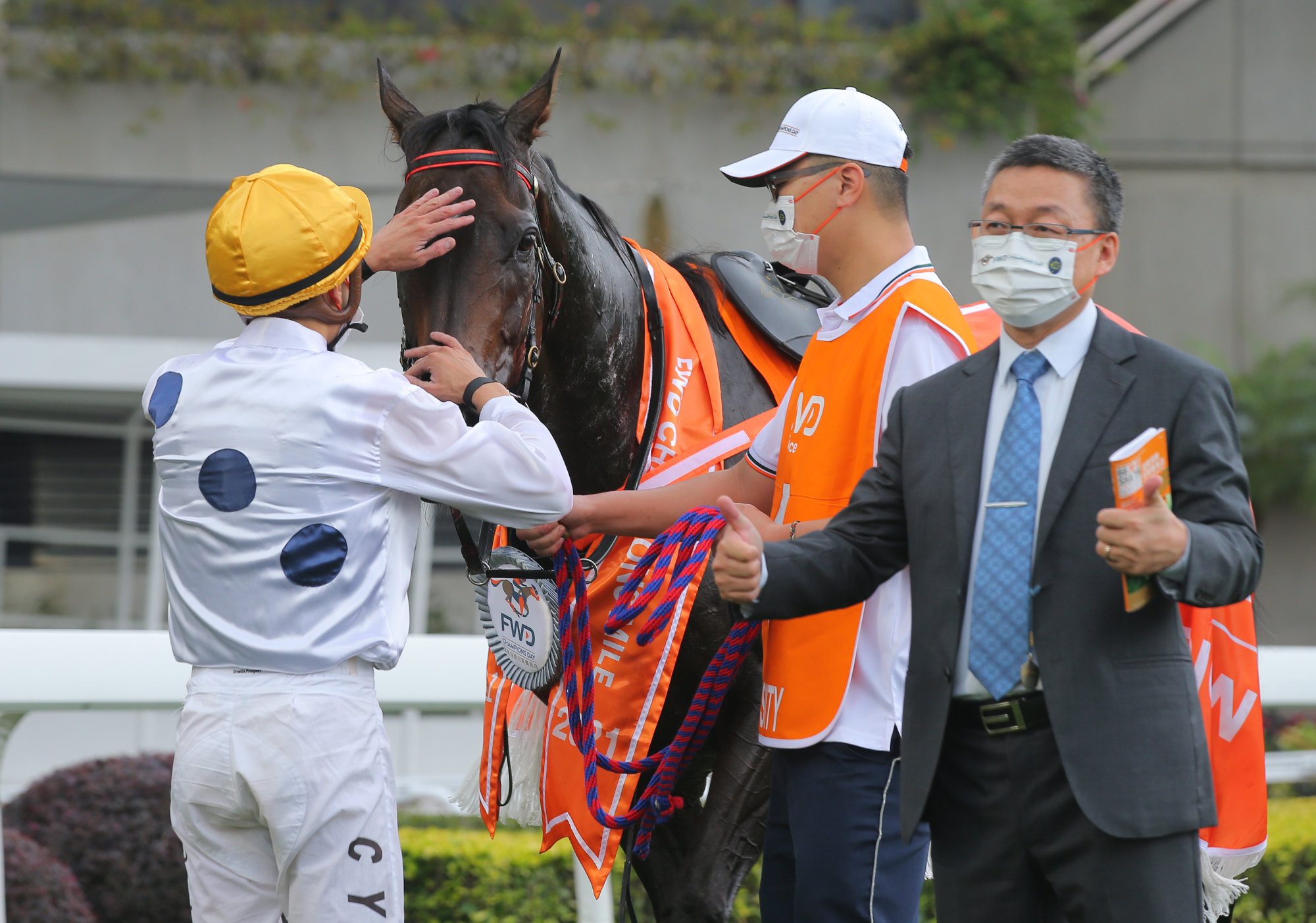 Vincent Ho gives Golden Sixty a pat as trainer Francis Lui celebrates.