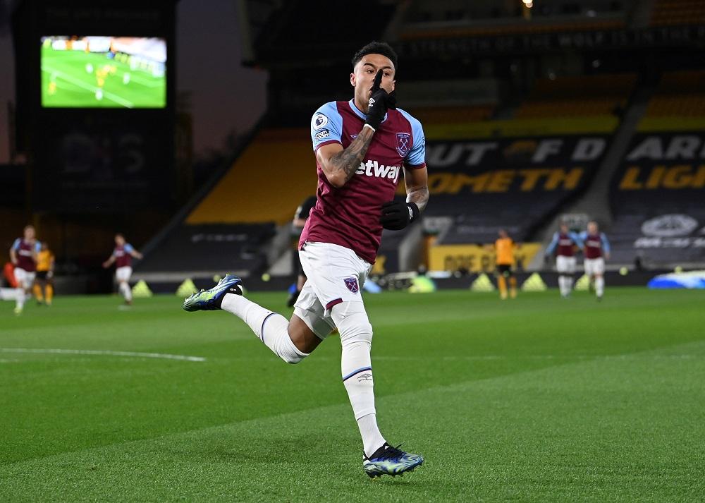West Ham United's Jesse Lingard celebrates after scoring the first goal against Wolverhampton Wanderers April 6, 2021. ― Pool via Reuters