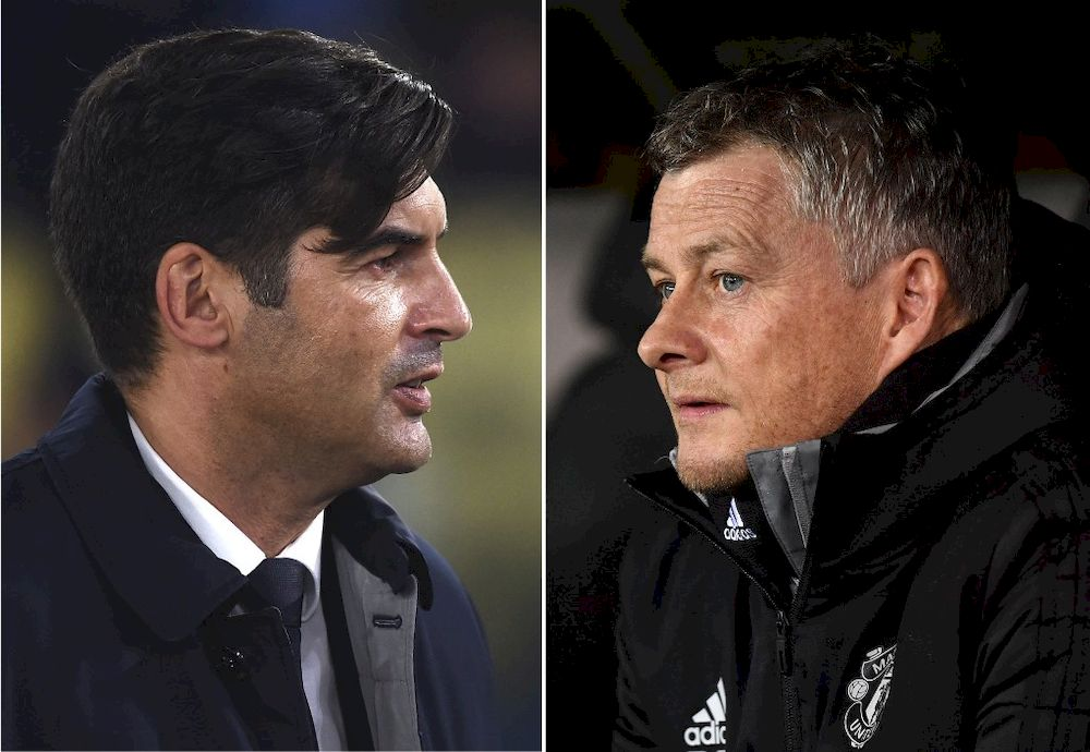 This combination of file pictures created in London on April 28, 2021, ahead of Manchester United's Uefa Europa League semi-final first leg tie against Roma shows AS Roma's Portuguese head coach Paulo Fonseca and Manchester United's Norwegian manager Ole Gunnar Solskjaer. — AFP pic