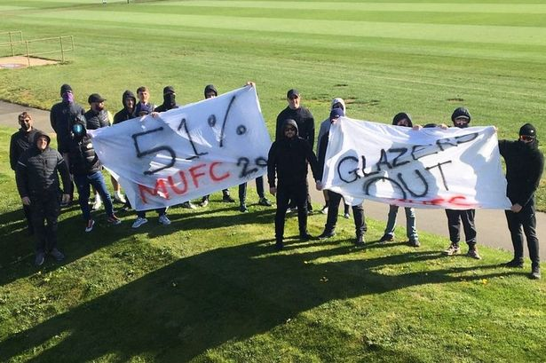Angry fans blockaded Manchester United's training complex on Thursday