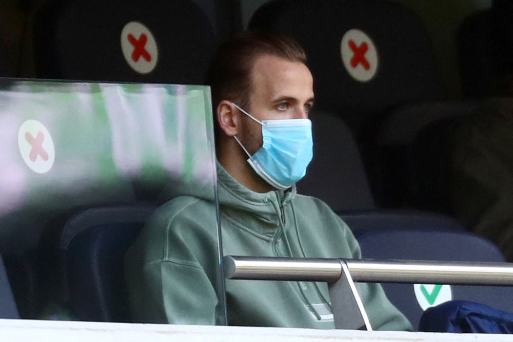 Tottenham Hotspur's injured English striker Harry Kane watches from the stands during the English Premier League football match between Tottenham Hotspur and Southampton at Tottenham Hotspur Stadium in north London April 21, 2021. — AFP pic