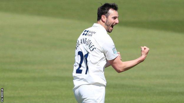 Middlesex and England paceman Toby Roland Jones took 4-29 against Surrey to end up with seven wickets in the match at Lord's