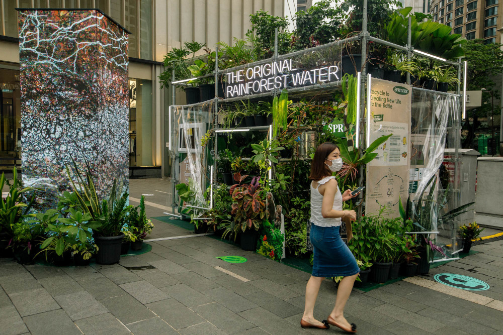 A rainforest-themed station at Pavilion Kuala Lumpur, a collaboration between Spritzer and Pavilion Kuala Lumpur in conjunction with World Earth Day, April 22, 2021. — Picture by Firdaus Latif
