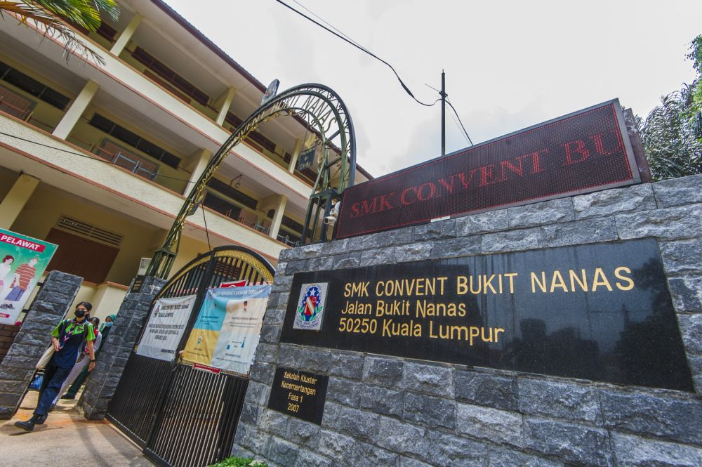 A general view of Sekolah Menengah Kebangsaan Convent Bukit Nanas in Kuala Lumpur April 21, 2021. — Picture by Shafwan Zaidon