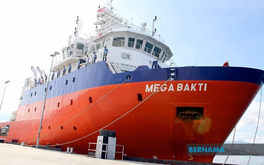 RMN chief Admiral Tan Sri Mohd Reza Mohd Sany said MV Mega Bakti was ready to use all the capabilities available on the ship in the submarine search operation, including the use of Intervention Remotely Operated Vehicles (IROV) equipment at the location involved. — Picture via Twitter/Bernama