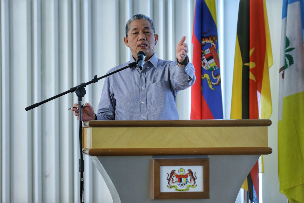 File picture shows Works Minister Datuk Seri Fadillah Yusof speaking during a meet and greet with media practitioners at Kompleks Kerja Raya in Kuala Lumpur, April 6, 2021. — Picture by Ahmad Zamzahuri