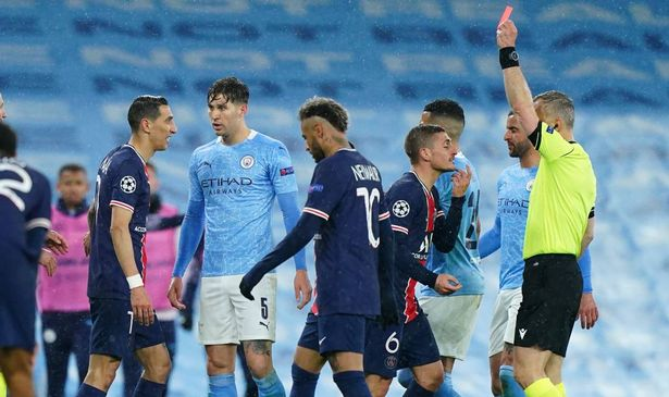 Angel Di Maria was sent off as PSG lost to Manchester City