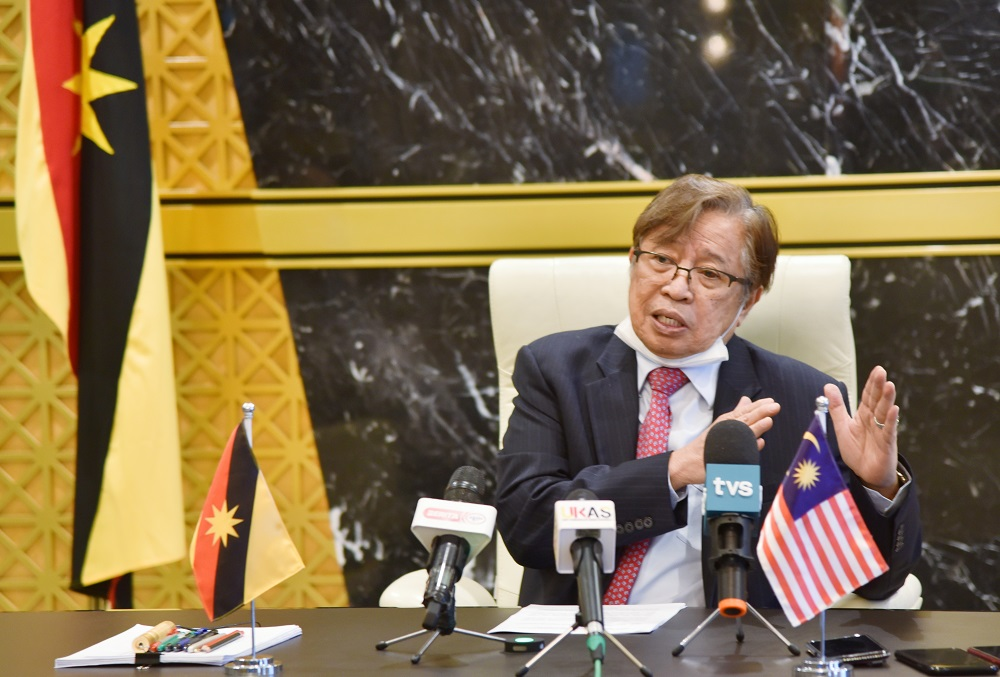 Sarawak Chief Minister Datuk Patinggi Abang Johari Openg said the state Budget 2022 is centred on the theme 'United in Building a Resilient, Inclusive and Progressive Society'. — Picture by Sarawak Information Department