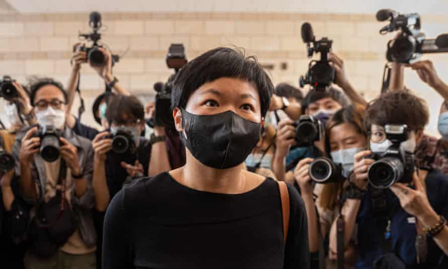 Radio Television Hong Kong (RTHK) reporter Bao Choy arrives at the West Kowloon court in April.