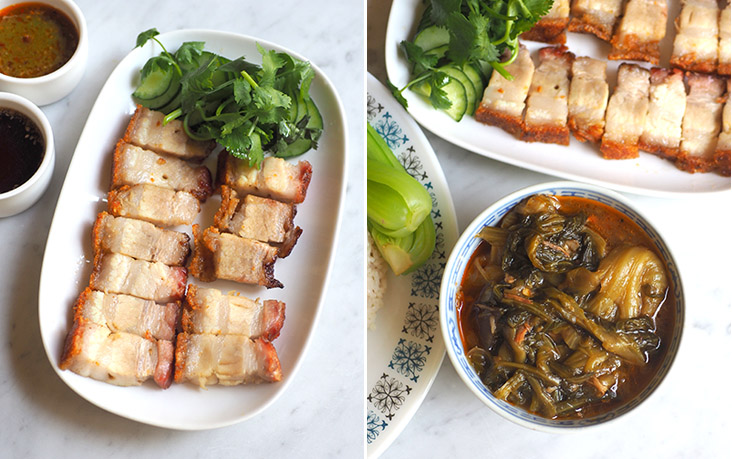 The roast pork has a nice ratio of fat with meat, topped with a crunchy skin (right). Make sure you get portion of 'chai boey' with your meal to get the slightly sour taste that helps cut the rich fatty taste of the roast pork (left).