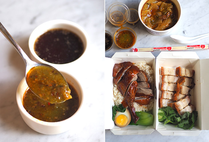 The chilli sauce is simply awesome and incredibly addictive (right). Your delivery is neatly packed in boxes making it easy to eat anywhere (left).