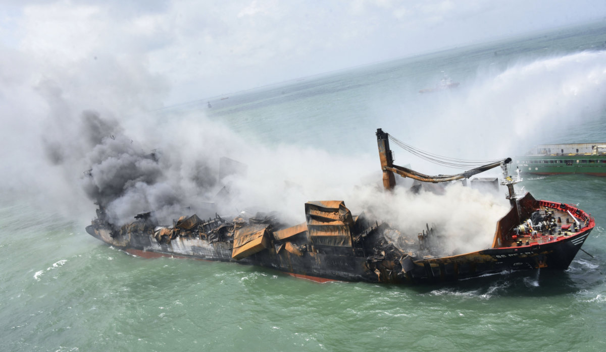This photo provided by Sri Lankan Air Force shows the sinking MV X-Press Pearl at Kapungoda where it is anchored off Colombo port, Sri Lanka, on June 2, 2021. (AP)