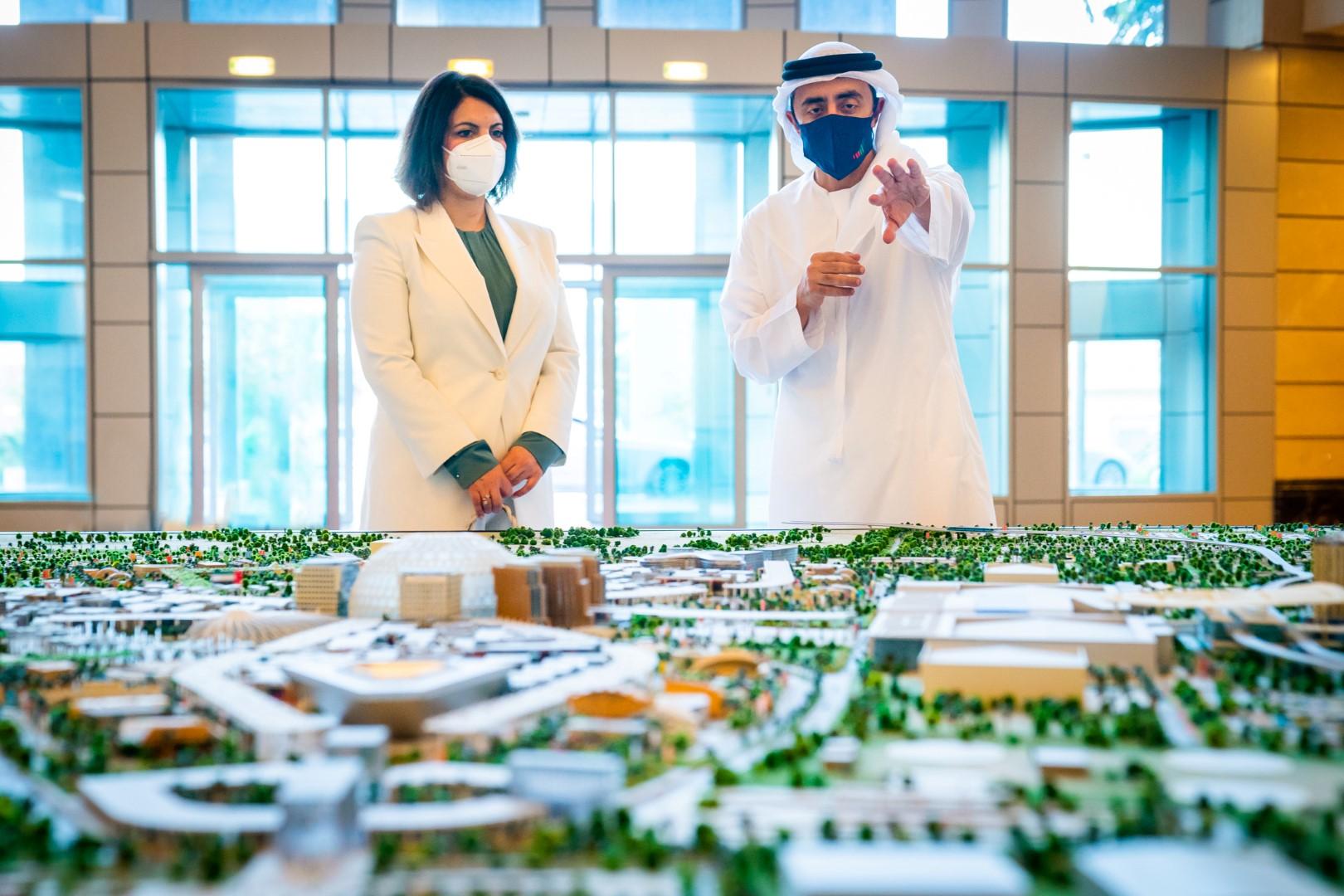 UAE Foreign Minister Abdullah bin Zayed meets Libyan counterpart Najla Mangoush. (WAM)
