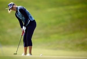 Lexi Thompson on the greens.
