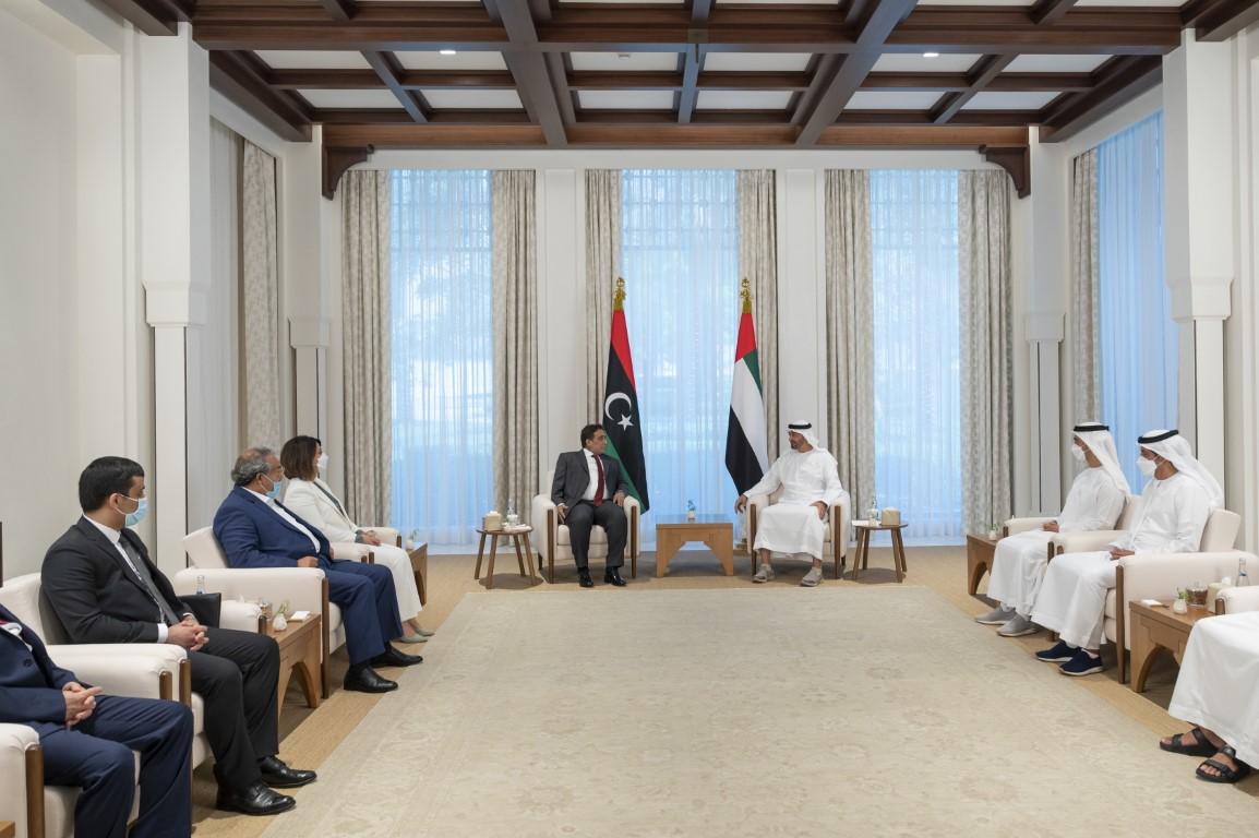 Abu Dhabi Crown Prince Sheikh Mohamed bin Zayed meets chairman of Libya's Presidential Council Dr. Mohammed Younes Al-Manfi. (WAM)