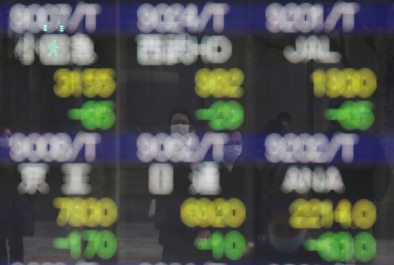 Asia tracks Wall St lower as U.S. inflation bets perk up
