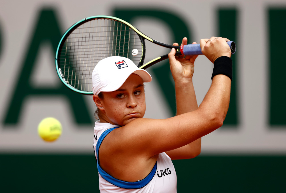 Australia's Ashleigh Barty in action during her second round match against Poland's Magda Linette at Roland Garros in Paris, June 3, 2021. — Reuters pic