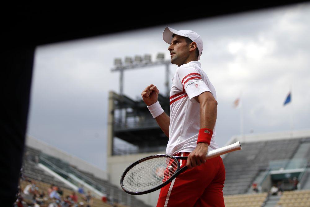 Serbia'a Novak Djokovic reacts during his second round match against Uruguay's Pablo Cuevas at Roland Garros, Paris June 3, 2021. — Reuters pic
