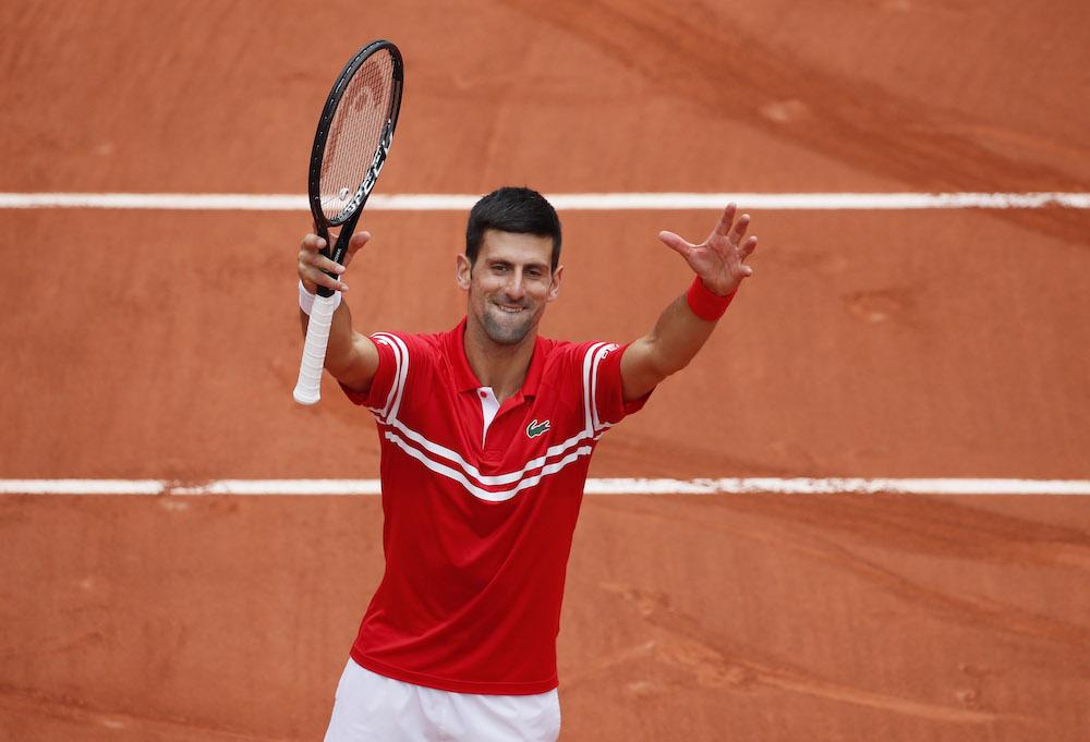 Serbia's Novak Djokovic celebrates after winning her third round match against Lithuania's Ricardas Berankis at Roland Garos in Paris, June 5, 2021 ― Reuters pic
