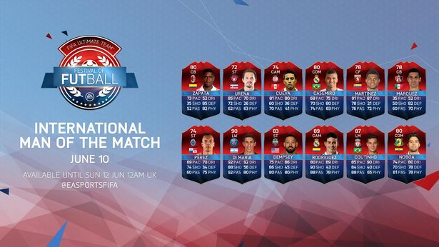 The FUT 16 Festival of FUTball promo featuredInternational Man of the Match Items from the previous day of fixturesthat were released for a limited time