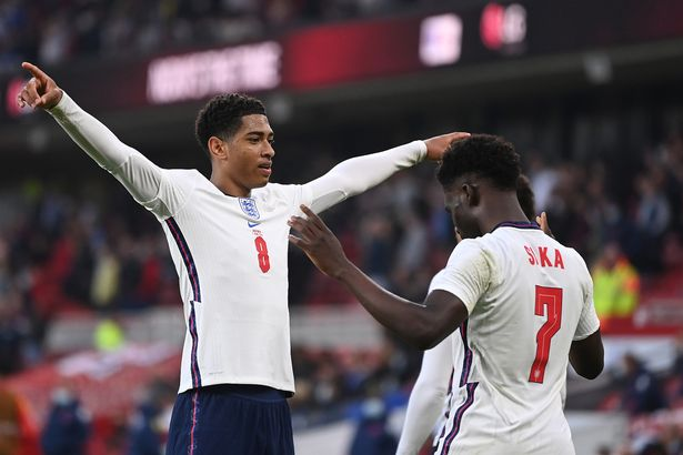 Saka pounced on a loose ball to finish from a tight angle and open his England account