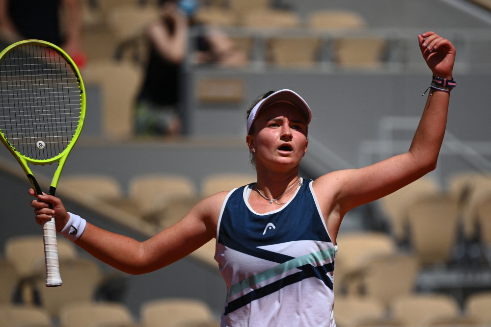 Czech Republic's Barbora Krejcikova celebrates after winning against Coco Gauff of the US during their women's singles quarter-final tennis match on Day 11 of The Roland Garros 2021 French Open tennis tournament in Paris June 9, 2021. — AFP pic