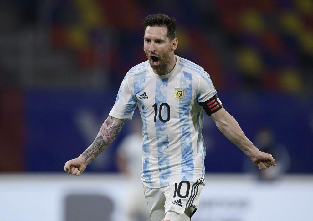 Argentina's Lionel Messi celebrates scoring their first goal against Chile at Estadio Unico, Santiago del Estero, Argentina June 3, 2021. — Reuters pic