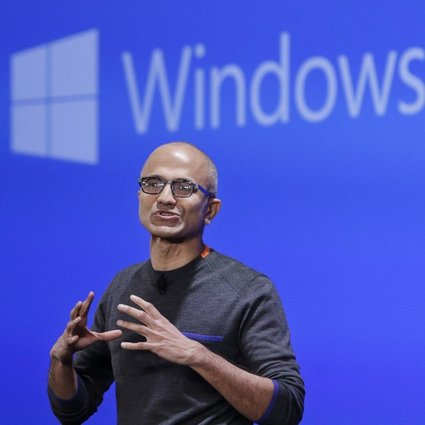"""Microsoft CEO Satya Nadella speaks at an event demonstrating the new features of Windows 10 at the company's headquarters in Redmond, Washington, on January 21, 2015. Windows 10 was released later that year, with one developer calling it the """"last version of Windows"""". Photo: AP"""