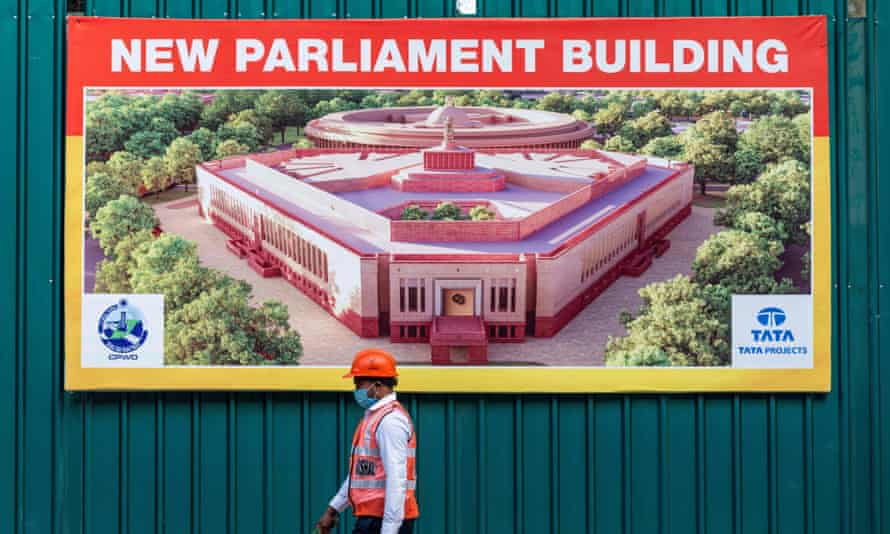 The new Indian Parliament House construction site in 2020.