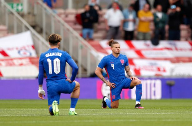 England's players took the knee before the match