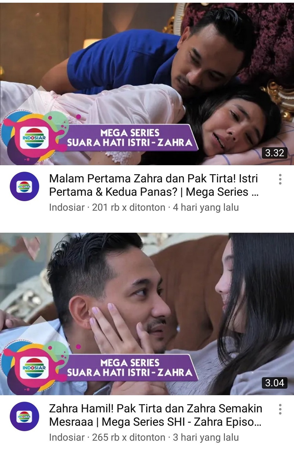 The videos are no longer available on Indosiar's YouTube channel but garnered more than 200,000 views while they were still up. — Screengrab via YouTube/Indosiar