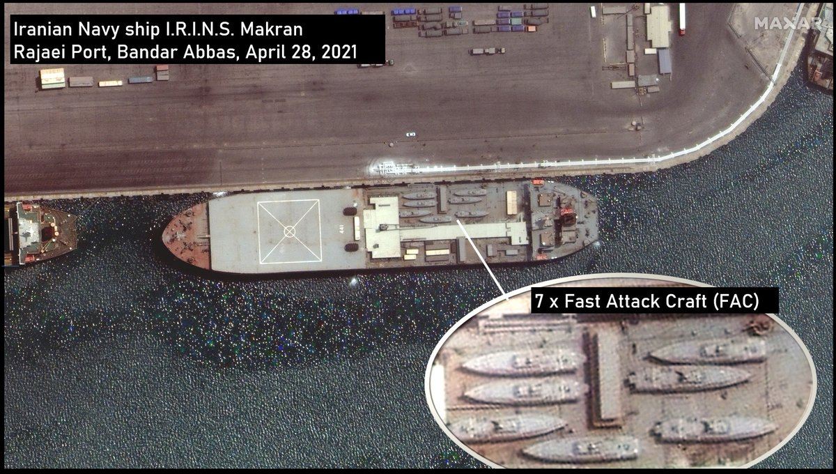 Iranian warship thought to be headed to Venezuela left port with seven high-speed missile boats aboard. (Maxar Technologies)