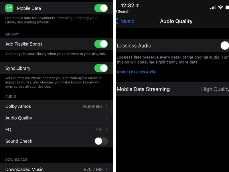 To enable lossless streaming and Dolby Atmos, just head over to Settings>Music on your iPhone/iPad.