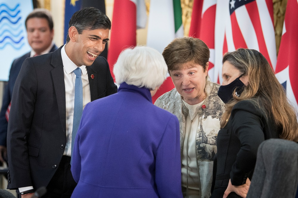 Britain's Chancellor of the Exchequer Rishi Sunak talks to US Treasury Secretary Janet Yellen, IMF Managing Director Kristalina Georgieva, and Canada's Finance Minister Chrystia Freeland at a meeting of finance ministers from across the G7 nations ahead of the G7 leaders' summit, at Lancaster House in London June 4, 2021. — Reuters pic