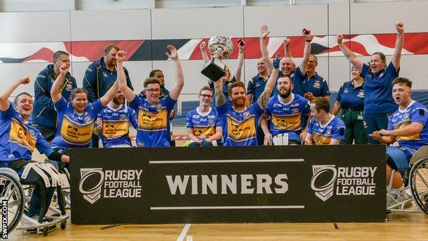 Leeds celebrate their 2019 final win over Argonauts