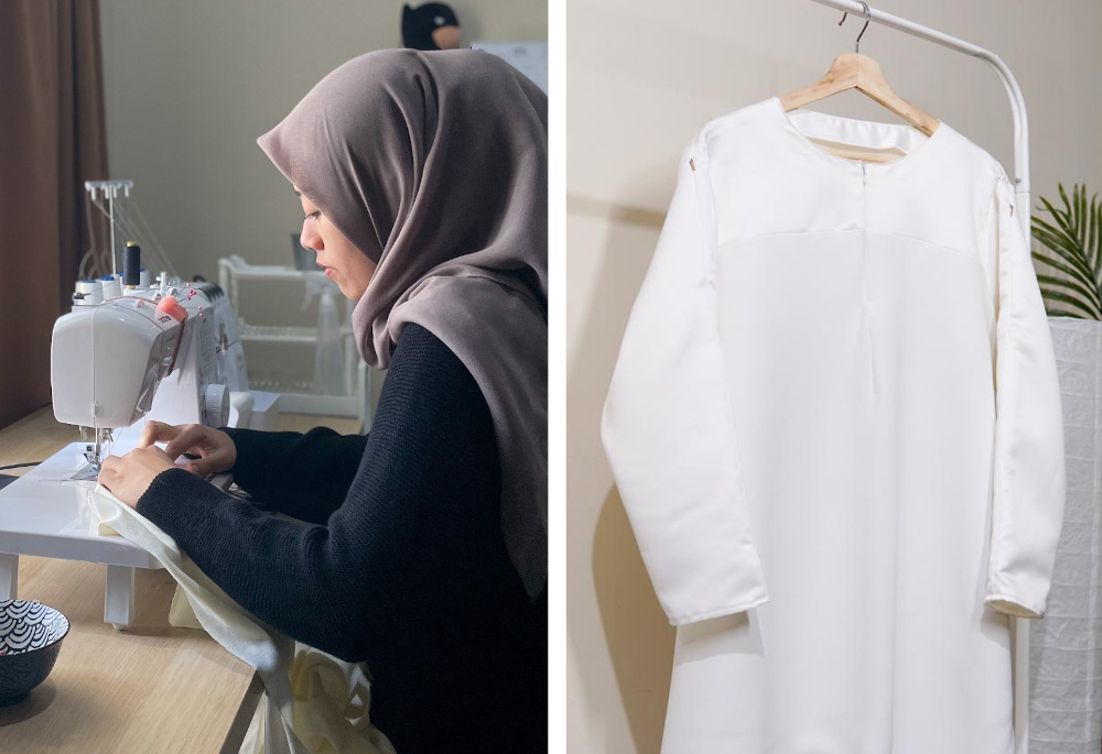 Nadhiratul Husna working on her vaccine friendly blouse for a customer. — Picture courtesy of Nadhiratul Husna Abdul Haris