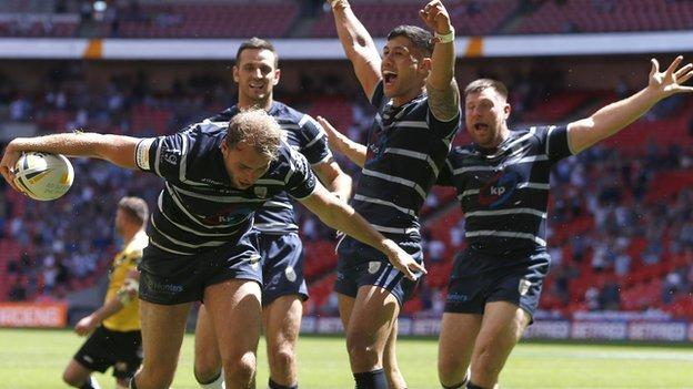Featherstone Rovers hooker James Harrison scored the sixth of his side's seven tries at Wembley against York
