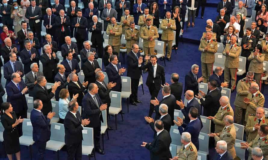 President Assad arriving at the swearing in ceremony on Saturday.