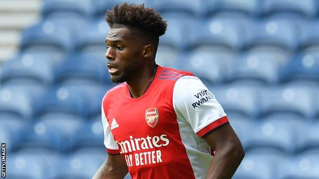 New signing Nuno Tavares was on target for Arsenal at Ibrox
