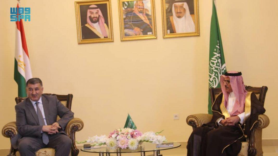 Saudi ambassador to Tajikistan Walid Al-Rasheedan meets Tajik Deputy Minister of Health and Social Protection Shodikhon Jamshed. (SPA)
