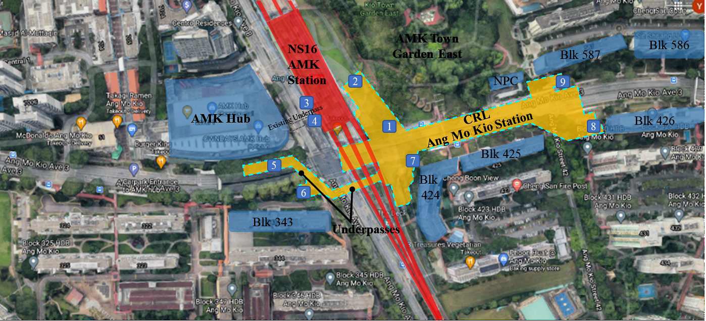 New underpasses for Ang Mo Kio station along Cross Island Line