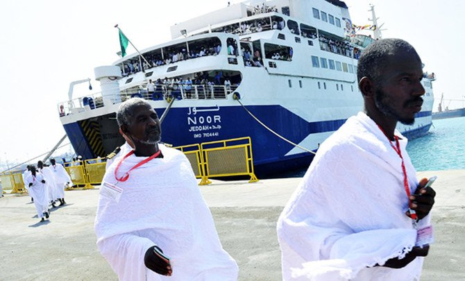 Sudanese pilgrims disembark from a ship arriving at the Saudi Red Sea port of Jeddah to attend the annual Hajj pilgrimage circa 2007. (AFP file)