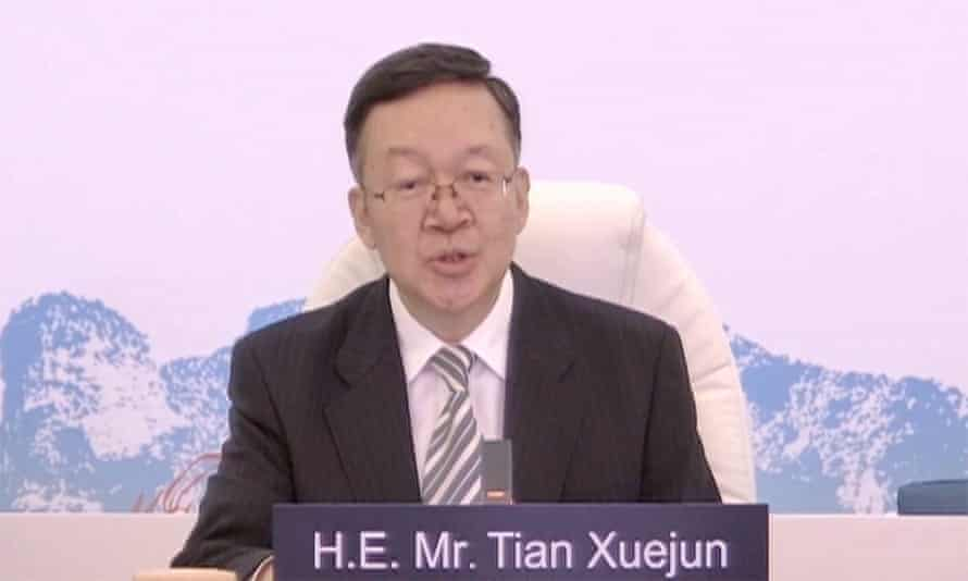 Vice minister of education Tian Xuejun, who is also director of the Chinese National Commission for Unesco, speaks on Sunday in Fuzhou.