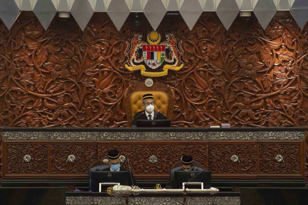 Speaker Datuk Azhar Azizan Harun speaks during a special Parliament sitting in Dewan Rakyat, Kuala Lumpur July 26, 2021. — Bernama pic