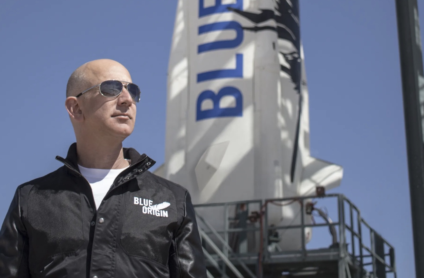Jeff Bezos, founder of Blue Origin, at New Shepard's West Texas launch facility before the rocket's maiden voyage, April 24, 2015. — BLUE ORIGIN/AFP pic