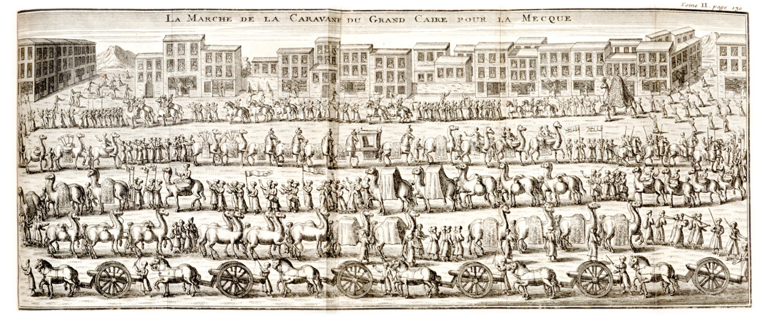 One of the earliest printed European depictions of the Mahmal procession before the start of Hajj, the illustration of 'The march of the caravan from Cairo to Mecca' from Vol. 2 of 'Troisieme Voyage du Sieur Paul Lucas.' (The Khalili Collections)