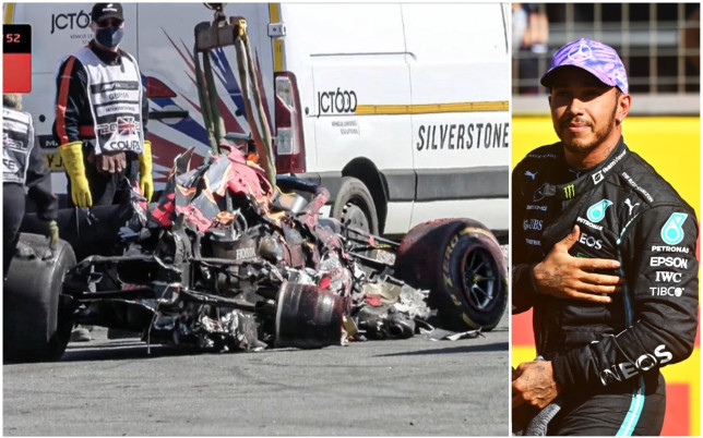 Max Verstappen's car after his collision with Lewis Hamilton